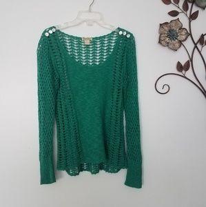 Lucky Brand Green Open Weave Sweater